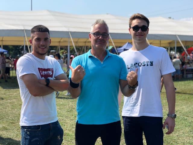 Beke Péter, Abaházi Csaba és Milák Kristóf a IX. Tárnoki Lecsófőző Fesztiválon, Tárnokon, 2019. augusztus 31-én.
